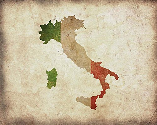 Map with Flag Overlay Italy by Color Me Happy Art Print, 18 x 14 inches