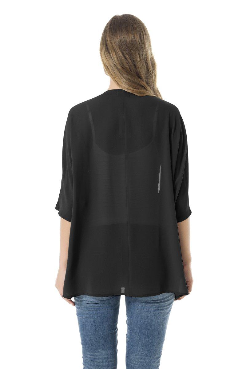 NB Women's Beachwear Sheer Chiffon Kimono Cardigan Solid Casual Capes Beach Cover up (XL, Black) by NB (Image #6)
