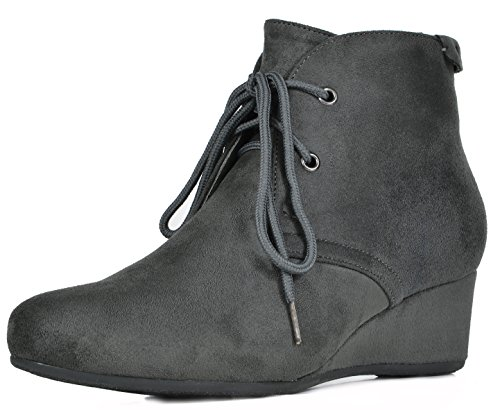 DREAM PAIRS Women's Ramona Grey Low Wedge Heel Ankle Bootie Size 7.5 M US
