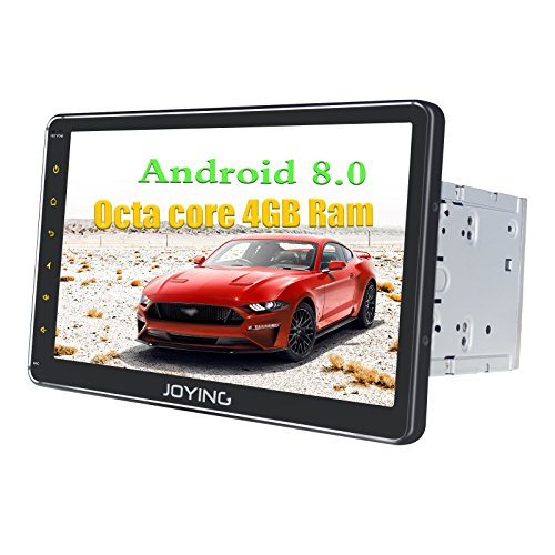JOYING 10.1 Car Radio Android 8.0 PX5 Octa Core 4GB + 32GB GPS Navigation Double Din with iPhone Zlink & Android Auto - Support RCA Video & Subwoofer Output