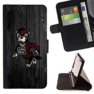 DEVIL CASE - FOR Sony Xperia M2 - SNC Football Wolf - Style PU Leather Case Wallet Flip Stand Flap Closure Cover