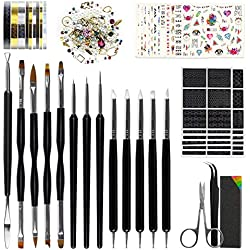 Nail Art Tools - 8 Size Painting Brushes, 5 Carving/Dotting Pen, 12 Style Decals/Stencils, Striping Tapes, Irregular 3D Rhinestones, Manicure Sponge