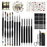Nail Art Tools Fashion Design - 8 Size Painting Brushes, 5 Carving/Dotting Pen, 12 Style Decals/Stencils, Striping Tapes, Irregular 3D Rhinestones, Manicure...