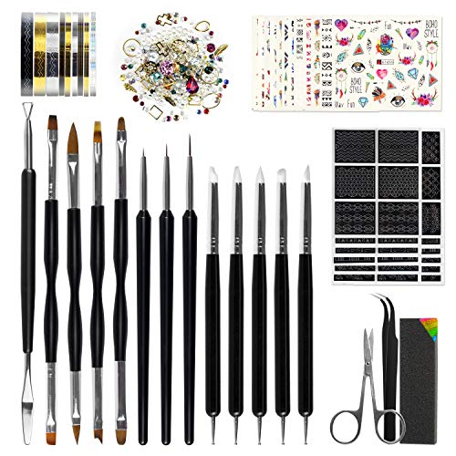 Nail Art Tools Fashion Design - 8 Size Painting Brushes, 5 Carving/Dotting Pen, 12 Style Decals/Stencils, Striping Tapes, Irregular 3D Rhinestones, Manicure Sponge (Pro Nail Art Set)