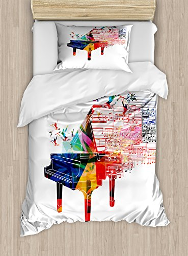 - Lunarable Piano Duvet Cover Set Twin Size, Colorful Piano Design with Flying Hummingbirds and Clef with Notes Fantastic Melody, Decorative 2 Piece Bedding Set with 1 Pillow Sham, Blue Red