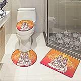 Carl Morris Yoga 3 piece toilet mat set Asian Oriental Ethnic Floral Holy Mandala Pattern Paisley Henna Motifs Bohemian Style 3D digital printing Rug Set Pink Orange
