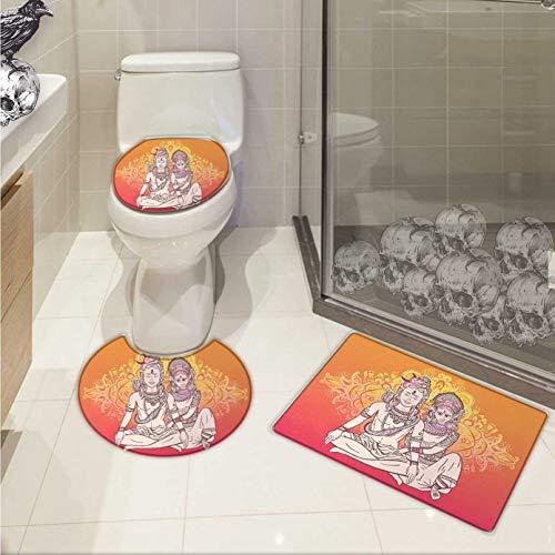 Carl Morris Yoga 3 piece toilet mat set Asian Oriental Ethnic Floral Holy Mandala Pattern Paisley Henna Motifs Bohemian Style 3D digital printing Rug Set Pink Orange by Carl Morris
