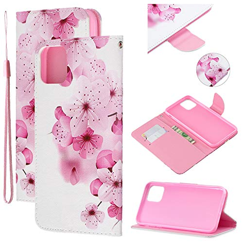 Amocase Strap Leather Case with 2 in 1 Stylus for iPhone 11 Pro 5.8″ 2019,Colorful Printed Premium Wallet PU Leather Stand Shockproof Card Slot Case for iPhone 11 Pro – Beautiful Peach Blossom