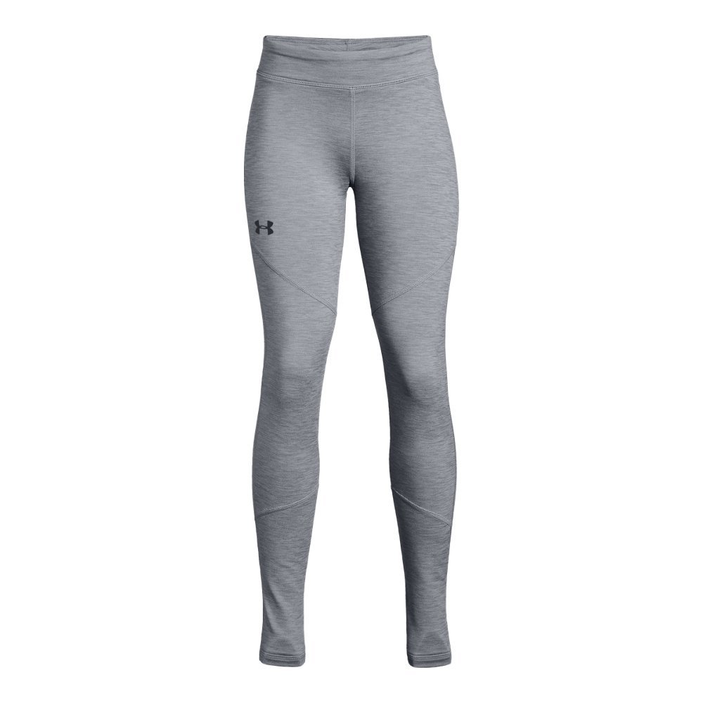 Under Armour Girls' Coldgear Leggings, Steel Light Heather (035)/Black, Youth Small