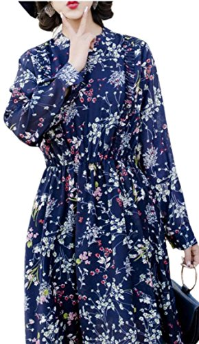 3 Long Tunic Print Floral Swing Chiffon Crewneck Womens Sleeve Jaycargogo Dress 8qxCXv6I