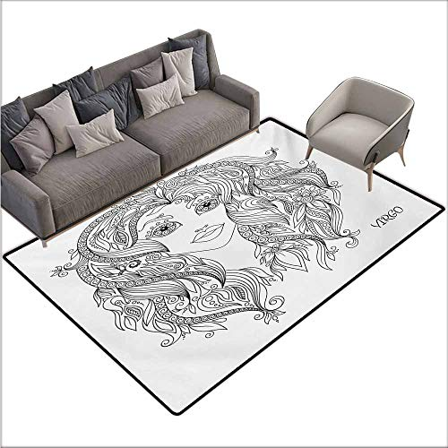 Bath Rug 3D Digital Printing pad Zodiac Virgo Young Lady Portrait with Flowers Hand Drawn Line Art Woman of Virgo Sign Personality W70 xL94 Black and White