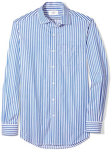 BUTTONED DOWN Men's Classic Fit Supima Cotton Spread-Collar Dress Casual Shirt, Blue/White Large Bengal Stripe, M -