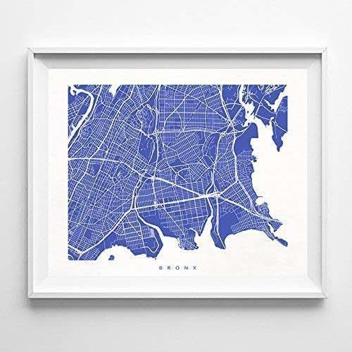 Bronx Blue Bedroom Project: Amazon.com: Bronx New York Street Road Map Poster Home
