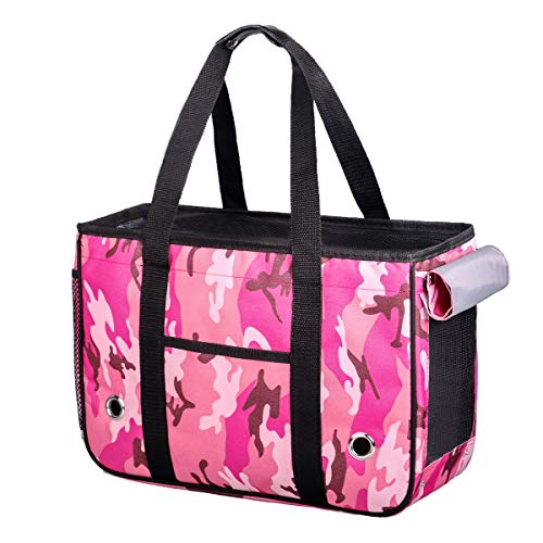 Pink Camo Pet Carrier - KAMEIOU Portable Small Pet Bunny Rabbit Cat Carrier Bag Breathable Travel Outdoor Pink Camouflage Small Dogs Bunny Ferret Cat Rabbit Carriers Shoulder Hand Bag for Rabbits Cats Small Pet Carriers