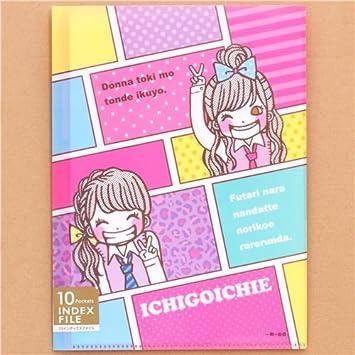 Carpeta archivador 10 fundas A4 /A3 niña anime japonés color: Amazon.es: Oficina y papelería
