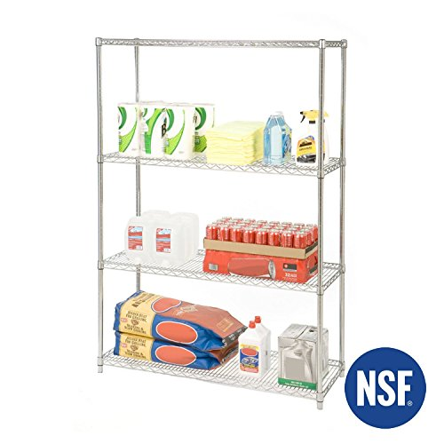 Seville Classics 4-Tier UltraZinc NSF Steel Wire Shelving, 18'' D x 48'' W x 72'' H by Seville Classics