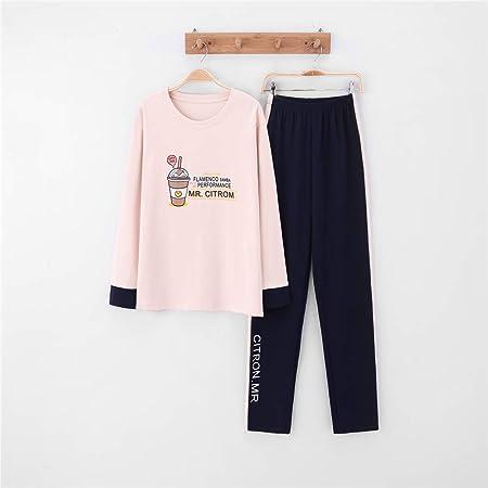 Pijamas Mujer Algodon Ropa de Domir Elegante Manga Pantalon Largos,Pareja de algodón de Manga Larga para Hombres y Mujeres, Traje de Servicio a Domicilio A-4 Hembra XL: Amazon.es: Hogar
