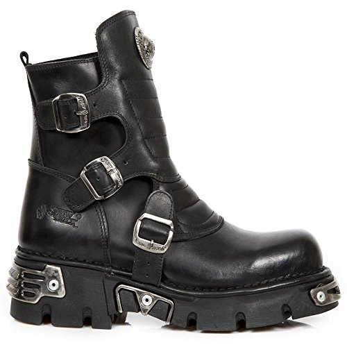 New Rock - Black Buckle Designed Boots UK 4 / Black by New Rock Shoes