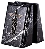 Paloma Collection AJ-R19M Beveled ''Zebra'' Marble Bookends with Antique Silver Plated ''Medical'' Emblem, Black Zebra Marble/Silver