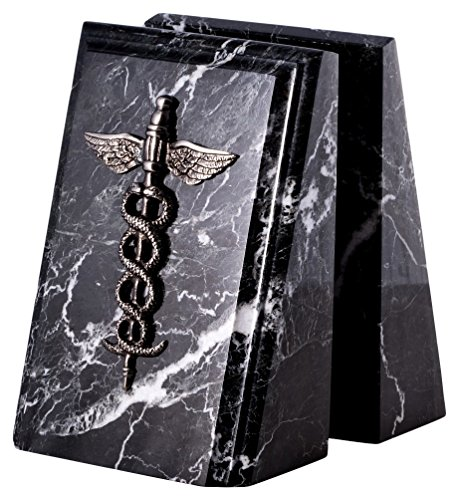Paloma Collection AJ-R19M Beveled ''Zebra'' Marble Bookends with Antique Silver Plated ''Medical'' Emblem, Black Zebra Marble/Silver by Paloma Collection