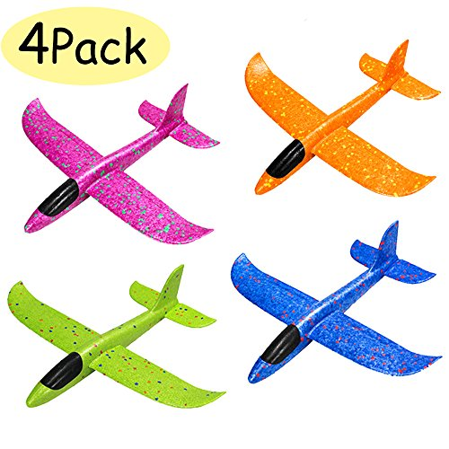 Manual Airplane - WenToyce 4 Pack Throwing Foam Airplanes, 12.5 Inches 2 Flight Mode Glider Inertia Planes Model, Manual Launch EPP Flying Aircraft Planes for Kids Outdoor Sport
