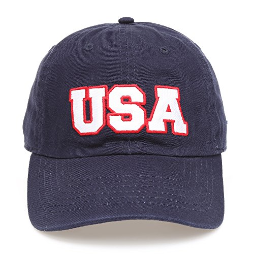 (MIRMARU USA American Flag Embroidered 100% Cotton Adjustable Strap Baseball Cap Hat (USA - Navy))