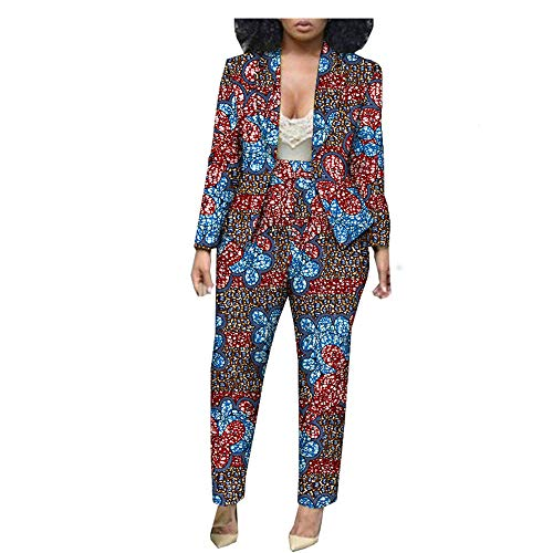 - African Ankara Print Ofice Lady Suit Tailor Made Full Sleeve Jacket+ Full Length Pants 100% Batik Cotton Made AA1826030 323-19J 6XL