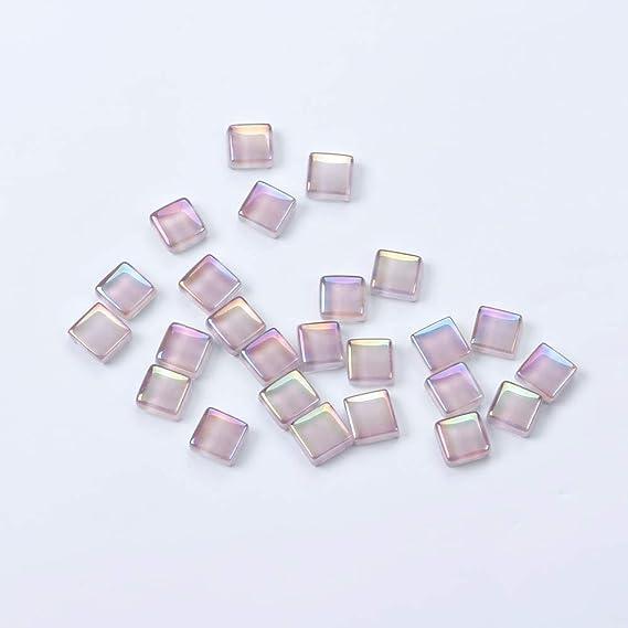 Lot de 120 dalles de mosa/ïque de 1 cm de forme carr/ée rose pour d/écoration de maison 1X1CM Black AB