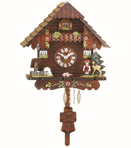 Kuckulino Black Forest Clock Black Forest House with quartz movement and cuckoo chime, incl. batterie TU 2037 PQ Trenkle