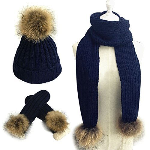 041933c0e6d LITHER 3 in 1 Women Soft Warm Thick Cable Knitted Hat Scarf   Gloves Winter  Set