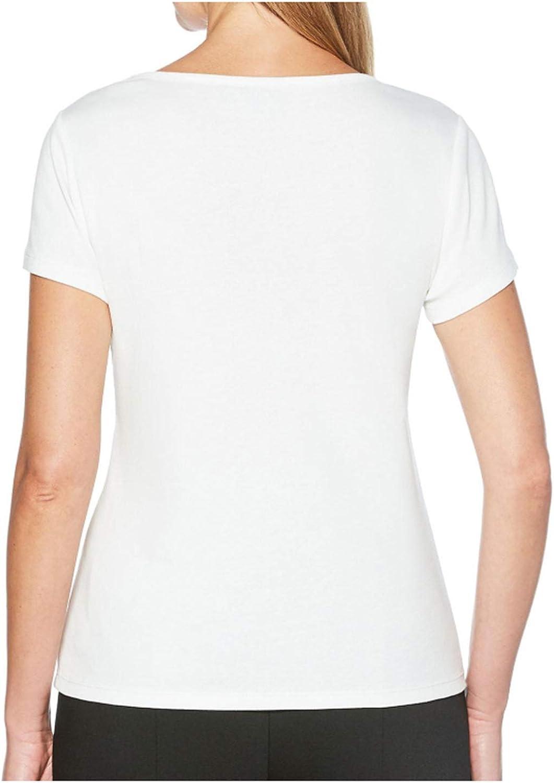 Rafaella Ladies Embellished Short Sleeve Shirt Snow White, Medium