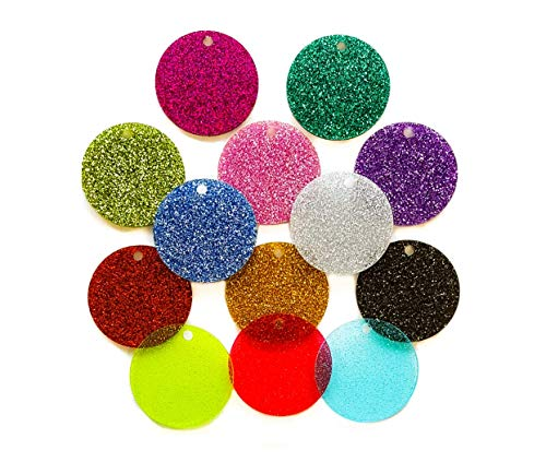 Glitter Disc - Set of 25 Units - Acrylic Disc - for Keychains or Jewelry 1/8
