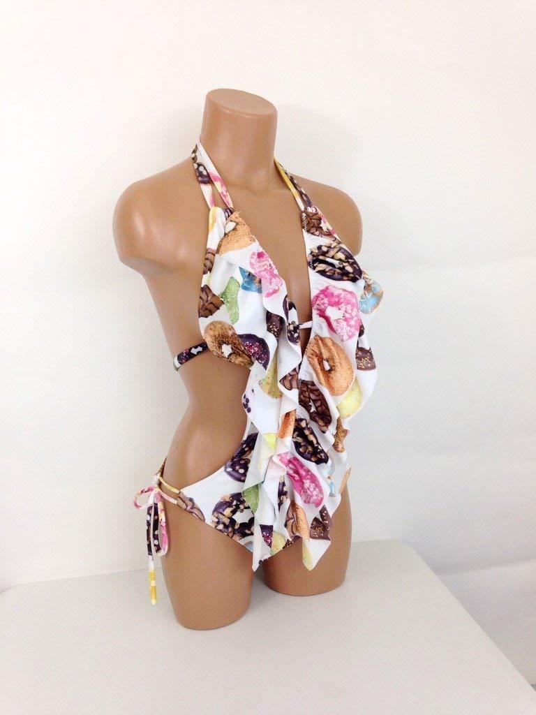 Womens one piece donut print swimsuit
