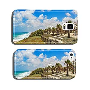 View on promenade with palms along Mediterranean sea coastline. cell phone cover case Samsung S5