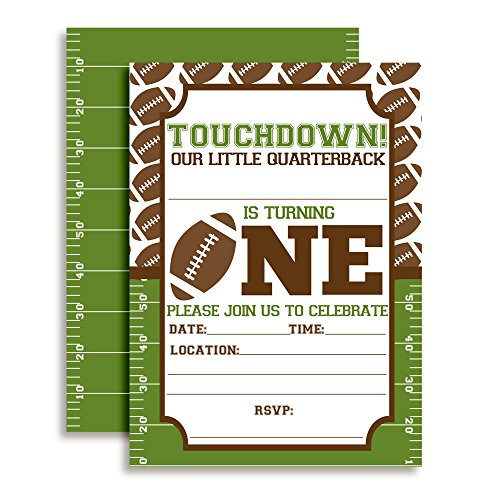 Touchdown Football First Birthday Party Invitations, 20 5