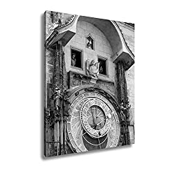 Ashley Canvas Astronomical Clock On Tower City Hall Old Town Square Prague, Wall Art Home Decor, Ready to Hang, Black/White, 20x16, AG5401285