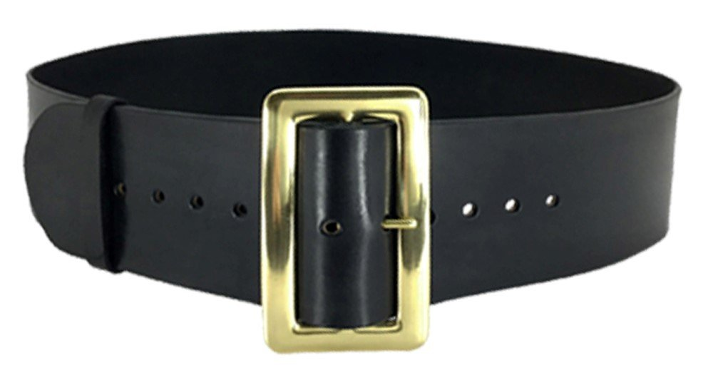 68 In Leather Santa Belt with 3-1/2 in Polished Solid Brass Buckle