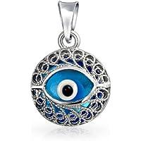 Bling Jewelry Mauvais Œil de Verre Bleu Ronde Filigrane en Argent