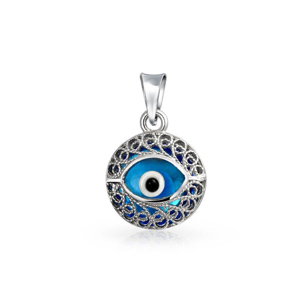 T/ürkische Evil Eye Protection Blue Eye runde Form Filigran 925 Silber Anh/änger Charm Halskette f/ür Frauen f/ür jugendlich