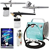 Master Airbrush Professional 3 Airbrush Kit with G22, S68, E91 Airbrushes, TC-77 Compressor & Air Hose