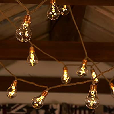 [NEW NORDIC DESIGN] LED Globe String Lights, Battery Operated Vintage Holiday Lights – 13 feet Jute String & 10 Clear Energy-efficient Bulbs – Warm White