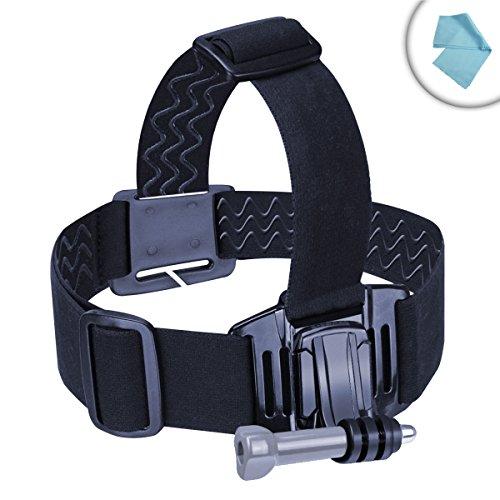 USA Gear Universal Head Strap Action Camera Mount for GoPro Hero4 Silver Hero5 Black WiMiUS 4K WiFi Sports WIFI HD Waterproof Campark 4K DBPOWER EX5000 APEMAN SJCAM Polaroid Cube+... Includes J Hook!