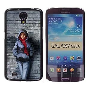 //MECELL CITY PRESENT//SmartPhone Carcasa rígida Carcasa de plástico PC Carcasa fresco imagen para Samsung Galaxy Mega 6,3///Pared de ladrillo bufanda invierno Outfit Ciudad estilo chica///