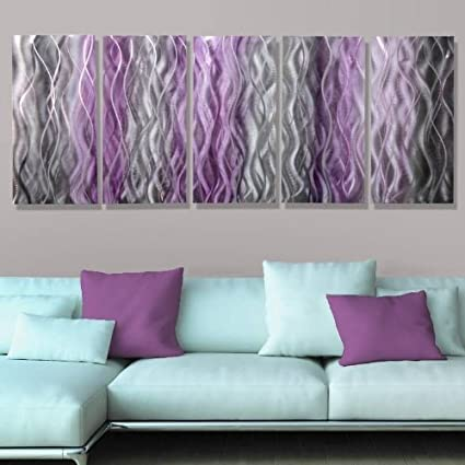 Amazon.com: Beautiful Silver With Fusions of Purple & Black Abstract ...