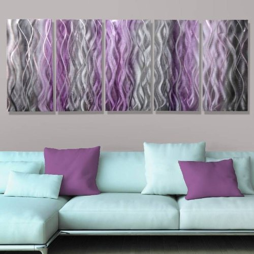 Beautiful Silver With Fusions of Purple & Black Abstract Hand-Painted