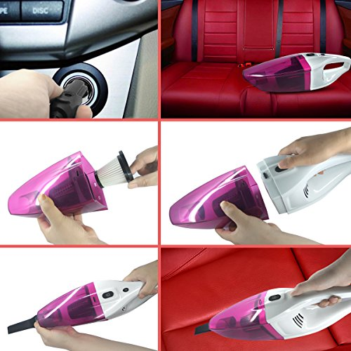 NOOX Car Vacuum Cleaner Portable Wet Dry Hand Held Vacuum in Car Cleaner for Dog Hair Bread Crumbs Food Melon Shells Small Sands Cigarette Butts 120W 4000PA 4.5 Meter Cord 12V