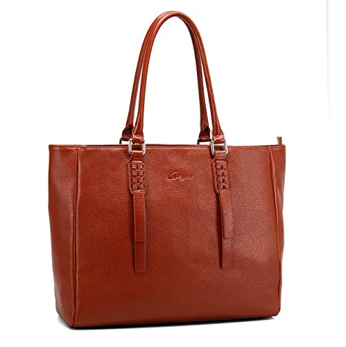 Geya Women's Handbags Shoulder Bags Genuine Leather Satchel Ladies Top Handle Cross Body Bag with Fashion Woven Design (New Brown) (Top Woven Satchel Zip)