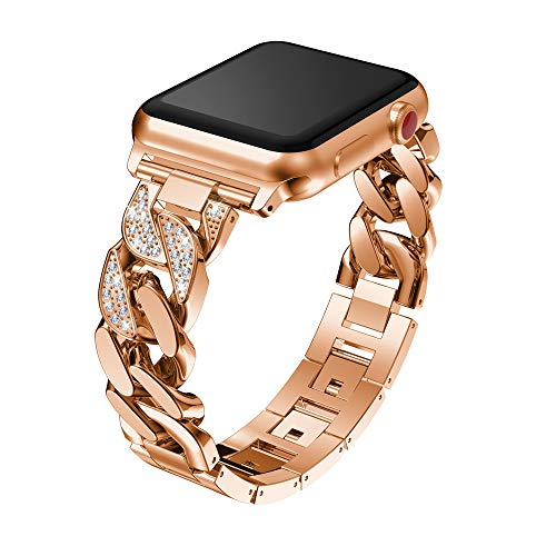 For Apple Watch Bracelet Band 38mm, Choosebuy Durable Single Row Cowboy Chain Metal Crystal Sports Replacement Wristband Women Men Bangles Strap for Apple Watch 1/2/3 (Rose Gold)