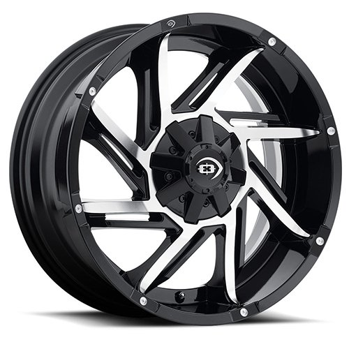 Vision 422 Prowler Gloss Black Machined Face Wheel with Machined Finish (17x9''/8x165.1mm)