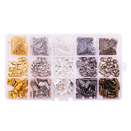 Price comparison product image PandaHall Elite About 1400Pcs Jewelry Basics Class In A Box Kit with Brass Lobster Clasp Iron Jump Rings Ribbon Ends for Jewelry Making